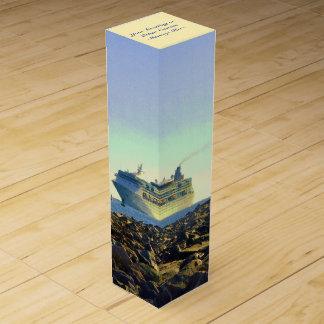 Cruise Ship Passing Jetties Personalized Wine Gift Box