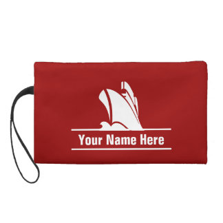 Cruise Ship Personalized  White on Red Wristlet Purses