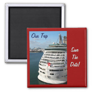Cruise Ship - Save the date Square Magnet