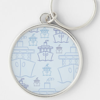 Cruise ship Silver-Colored round keychain
