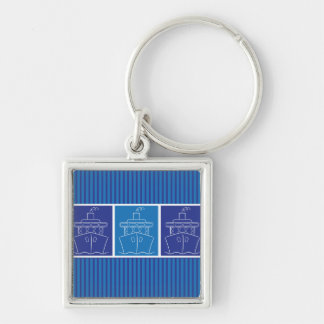 Cruise ship Silver-Colored square keychain