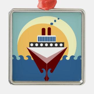 Cruise Ship Sunrise Silver Framed Square Ornament