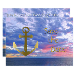 Cruise Ship Wedding Save the Date Ocean Sunset Card