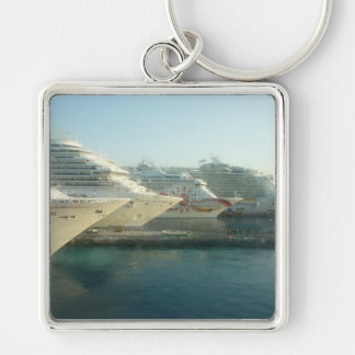 Cruise Ships at Sunrise Silver-Colored Square Keychain