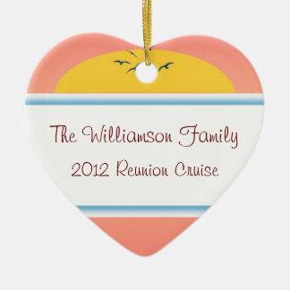 Cruise Sunset Family Reunion Heart Favor Ceramic Heart Ornament