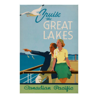 Cruise the Great Lakes Vintage Travel Poster