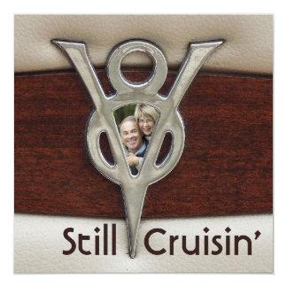 """Cruisin Couple Photo Anniversary Party 5.25"""" Square Invitation Card"""