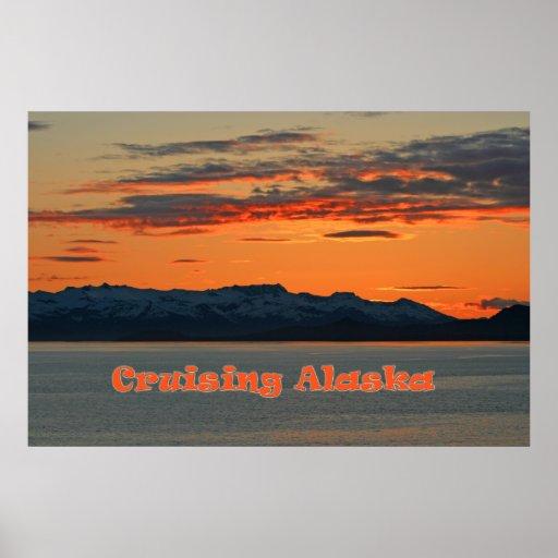Cruising Alaska / Vivid Orange Sunset Poster