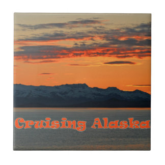 Cruising Alaska /Vivid Orange Sunset Tile