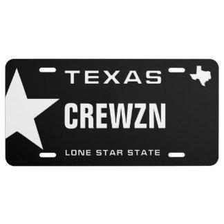 Cruising Black Texas License Plate