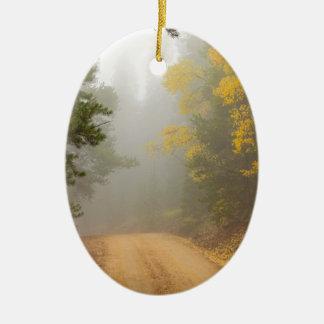 Cruising Into Autumn Fog Ceramic Ornament