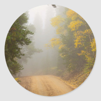 Cruising Into Autumn Fog Classic Round Sticker