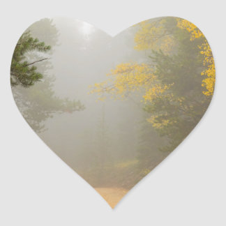 Cruising Into Autumn Fog Heart Sticker