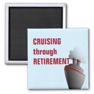 Cruising Through Retirement Blue Square Magnet