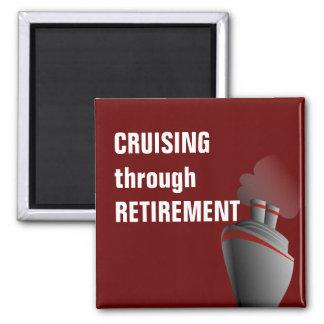 Cruising Through Retirement Dark Red Magnet