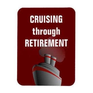 Cruising Through Retirement Dark Red Rectangular Photo Magnet
