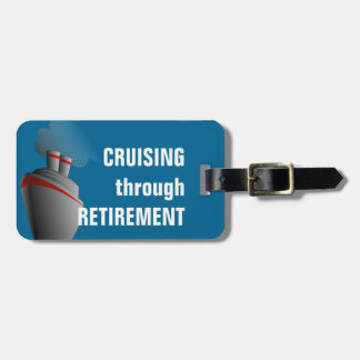 Cruising Through Retirement Rich Aqua Personalized Bag Tag