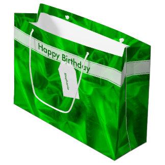 Crumpled faux Green Lame' Metallic Printed Texture Large Gift Bag