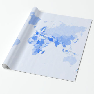 Crumpled Pale Blue World Map