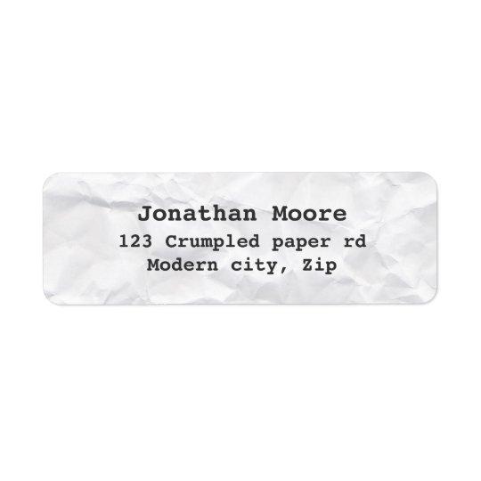 Crumpled white paper texture return address labels