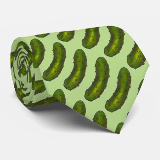 Crunchy Dill Pickles Green Sour Pickle Food Print Tie