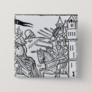 Crusading knights ride out to do Battle 2 Inch Square Button
