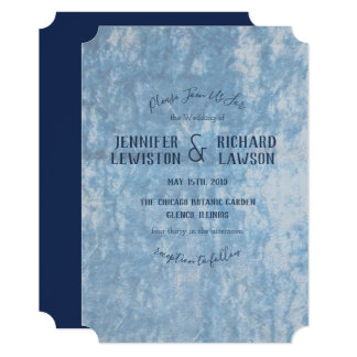 Crushed Blue Velvet Wedding Invitation