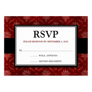 "Crushed Red Velvet 3.5x2.5""RSVP Response Card Business Card Templates"