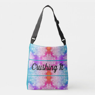 Crushing It Bright Rainbow Mandela Art Crossbody Bag