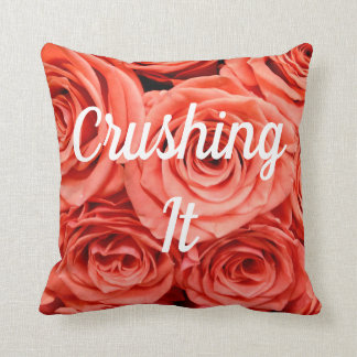 Crushing It Peach Roses Throw Pillow