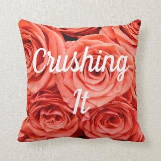 Crushing It Peach Roses Throw Pillow