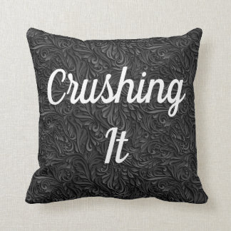 Crushing It White Black and texture REVERSABLE Throw Pillow