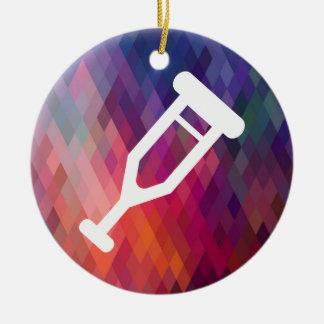 Crutch Legs Pictograph Round Ceramic Ornament