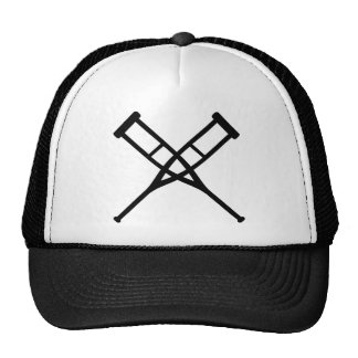 crutches crossed trucker hat