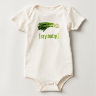 Cry Baby Vegetable Pun Green Onion Baby Bodysuit