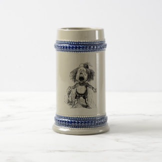 Crying Boy Cartoon Drawing Funny Black White Beer Stein