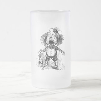 Crying Boy Cartoon Drawing Funny Black White Frosted Glass Beer Mug