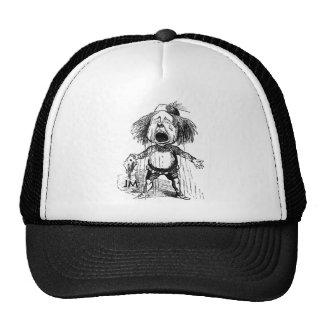 Crying Boy Cartoon Drawing Funny Black White Trucker Hat