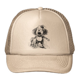 Crying Boy Funny Cartoon Vintage Drawing Emotional Trucker Hat