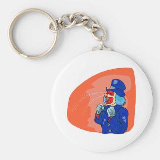 Crying clown basic round button keychain
