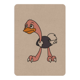 Crying Cute Ostrich Bird Invitation Card Stamps