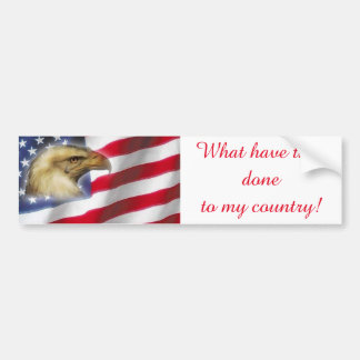 Crying Eagle & American Flag red white blue Bumper Sticker