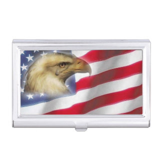 Crying Eagle & American Flag red white blue Business Card Cases