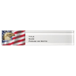 Crying Eagle and American Flag red white blue Nameplates