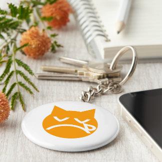 Crying Emoji Cat Basic Round Button Keychain