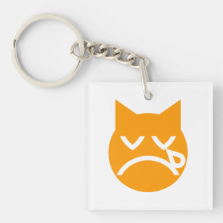 Crying Emoji Cat Double-Sided Square Acrylic Keychain