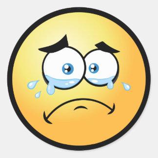 Crying Emoji Large Classic Round Sticker