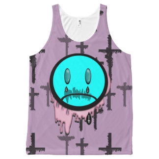 Crying Emoticon Pastel Goth Girl  Top