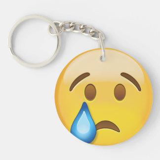 Crying Face Emoji Double-Sided Round Acrylic Keychain