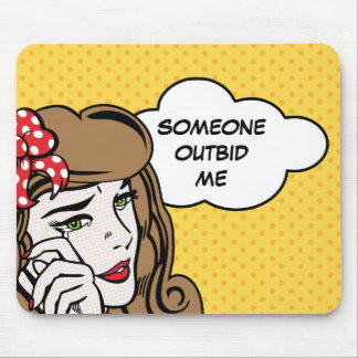 Crying girl pop art (yellow) mouse pad